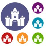 Fairytale castle icons set Stock Photography