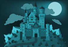 Fairytale castle in the night Stock Photography