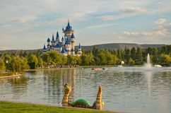 Fairytale castle in Sazova Park, Eskisehir, Turkey.  Royalty Free Stock Image