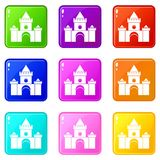Fairytale castle set 9. Fairytale castle icons of 9 color set isolated vector illustration Royalty Free Stock Photo
