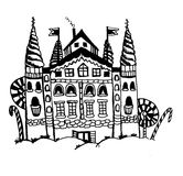 Fairytale castle with towers and trees of caramel candies doodle  illustration Stock Photos