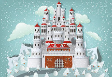 Fairytale castle in winter. Vector illustration of fairytale castle in winter Royalty Free Stock Photography