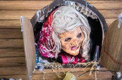 Fairytale character Baba Yaga - participant of Rehovot International Live Statues Festival stock photography