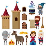 Fairytale characters and castle towers. Illustration Stock Images