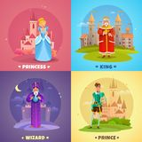 Fairytale Characters 2x2 Design Concept. Fairytale heroes 2x2 design concept set of princess king prince wizard cartoon characters vector illustration Royalty Free Stock Photography