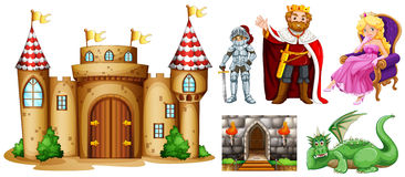 Fairytale characters and palace building. Illustration Stock Image