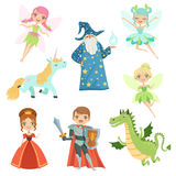 Fairytale characters set in different costumes. Princess, funny unicorn. Wizard, dragon and knight. Vector illustrations. In cartoon style. Fairy wing and Royalty Free Stock Images