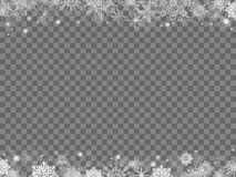 Fairytale christmas background many snowflakes frame transparent. Gray rectangle Royalty Free Stock Images