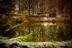 Fairytale Christmas Lake Stock Photography