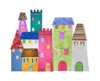 Fairytale  City. Colorful graphic illustration. Quilt design Stock Images