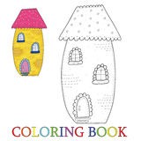 Fairytale colorful cute house in cartoon style. Color and contour, coloring book Vector illustration. Stock Image