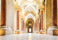 Fairytale corridor of Monserrate Palace in Sintra. Royalty Free Stock Photo