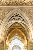 Fairytale corridor of Monserrate Palace in Sintra. Royalty Free Stock Images