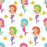 Fairytale cute mermaids sea underwater girls. Summer seamless vector pattern vector illustration