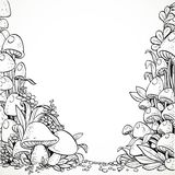 Fairytale decorative graphics mushrooms and flowers Royalty Free Stock Images