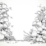 Fairytale decorative graphics mushrooms in the magic forest Royalty Free Stock Images