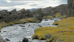 Dramatic landscape with small river is flowing between dark basalt rocks, in cloudy autumn day stock footage