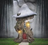 Fairytale dreamlike tree house in fantasy forest. With fog stock illustration