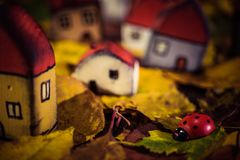 Fairytale dwarf houses and a ladybug in autumn forest. Handmade stock images