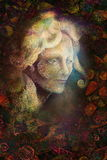 Fairytale fairy woman face on abstract background with ornaments Royalty Free Stock Images