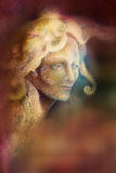 Fairytale fairy woman face on abstract background with ornaments Stock Image