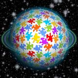 Fairytale fantastic puzzle planet with turquoise ring on black background full of stars Royalty Free Stock Photography