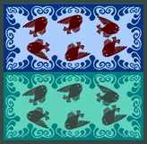 Fairytale fishes swiming in wave foam Stock Photography