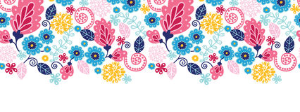 Fairytale flowers horizontal seamless pattern Royalty Free Stock Photo