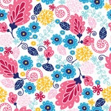 Fairytale flowers seamless pattern background Stock Photography