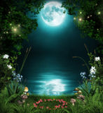 Fairytale Forest by a pond. 3D illustration of a fairytale forest by an enchanted pond  at night in the moonlight Royalty Free Stock Images