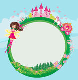 Fairytale frame with castle and carriage Royalty Free Stock Images