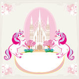 Fairytale frame with magic castle and unicorns Royalty Free Stock Images
