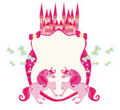 Fairytale frame with pink castle and unicorns Royalty Free Stock Images