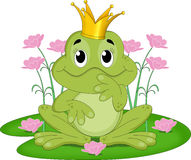 Fairytale frog king. An illustration featuring a fairytale frog with a crown on its head Stock Photo