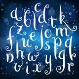 Fairytale hand drawn alphabet on light background. Fairytale hand drawn alphabet on blue festive background. Brush painted letters. Vector illustration Stock Image