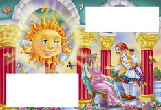 Fairytale hero visiting the house of the Sun. Fantastic scene from greek fairytale  with templates for text Royalty Free Stock Photo