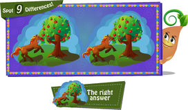 Fairytale Horse and apple. Visual Game for children. Task: find 9 differences. Fairy tale Royalty Free Stock Photos