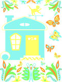 Fairytale house. Fabulous house with flowers and butterflies Royalty Free Stock Images