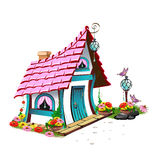Fairytale house with pink roof Stock Image