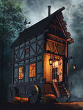 Fairytale house on wheels Royalty Free Stock Photography