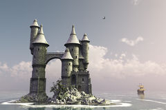 Fairytale island castle. Fairytale castle on small island with sailing ship in the distance Royalty Free Stock Photo
