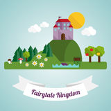 Fairytale kingdom in flat design Stock Images