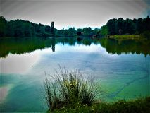 Fairytale lake, nature, water and reflection. Fairytale lake, colours, nature, trees, plants, sky, flowers, water and reflection. Environment and double view royalty free stock images