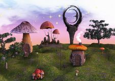 Fairytale land full of mushrooms, lanterns and a moon statue. Stock Photos