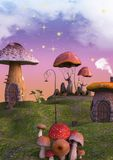 Fairytale land full of mushrooms and lanterns.  Stock Images