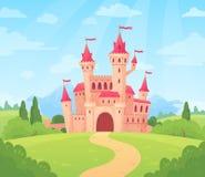 Fairytale landscape with castle. Fantasy palace tower, fantastic fairy house or magic castles kingdom cartoon vector stock illustration