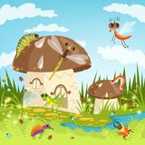 Fairytale landscape with funny insects. Vector fairytale landscape with insect and mushroom house illustration Royalty Free Stock Images