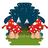 Fairytale landscape and nature scene. Vector illustration graphic design Royalty Free Stock Images