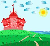 Fairytale landscape with red magic castle royalty free illustration