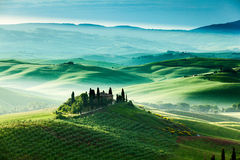 The fairytale landscape of Tuscany fields at sunrise Stock Photos